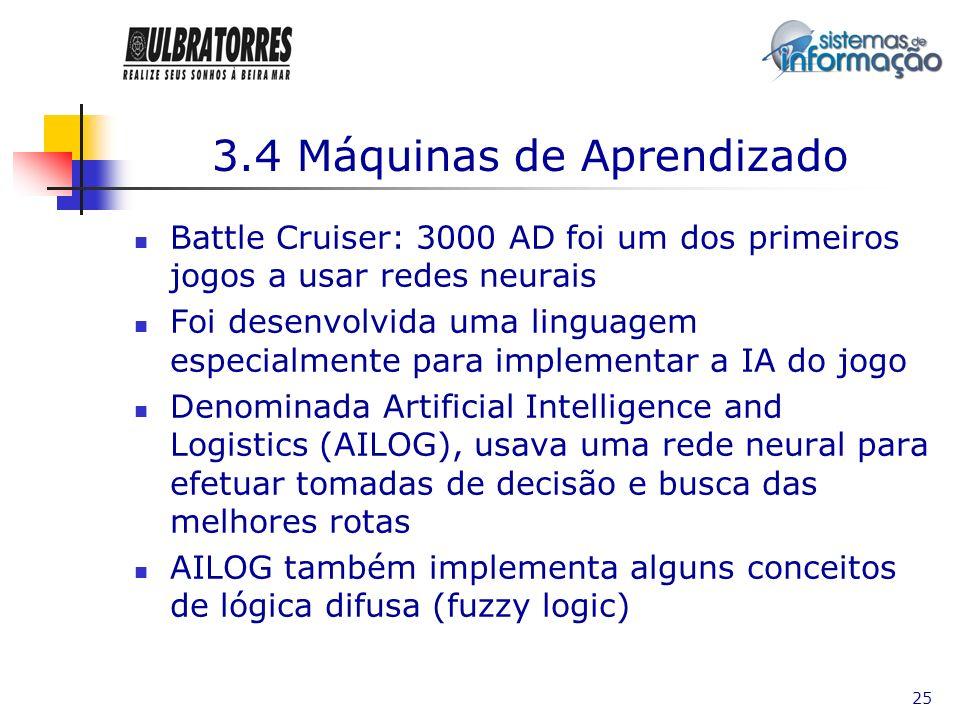 25 3.4 Máquinas de Aprendizado Battle Cruiser: 3000 AD foi um dos primeiros jogos a usar redes neurais Foi desenvolvida uma linguagem especialmente pa