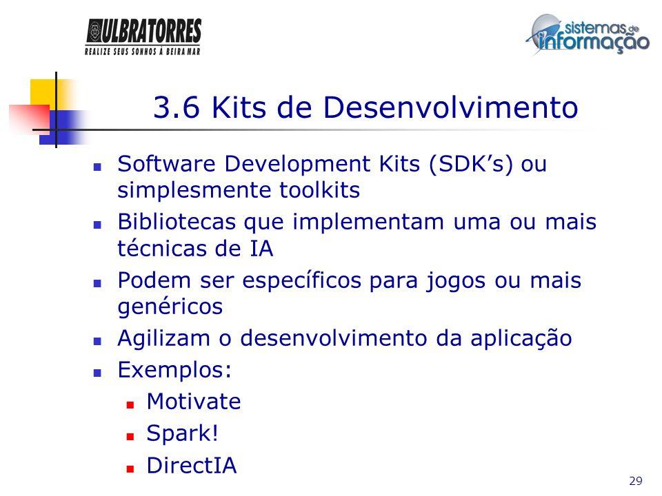 29 3.6 Kits de Desenvolvimento Software Development Kits (SDKs) ou simplesmente toolkits Bibliotecas que implementam uma ou mais técnicas de IA Podem