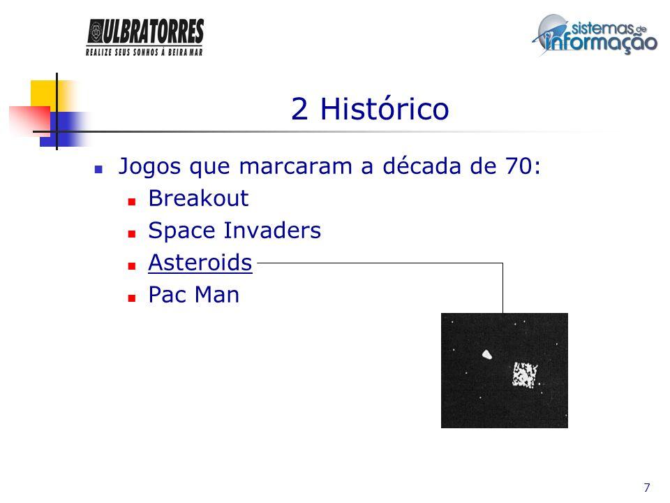 7 2 Histórico Jogos que marcaram a década de 70: Breakout Space Invaders Asteroids Pac Man