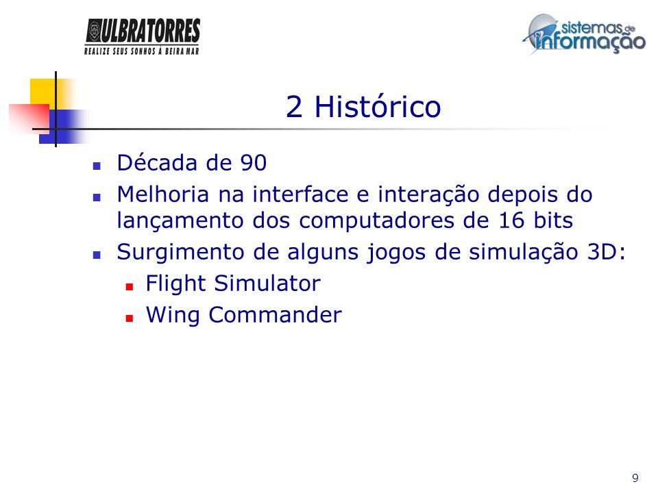 9 2 Histórico Década de 90 Melhoria na interface e interação depois do lançamento dos computadores de 16 bits Surgimento de alguns jogos de simulação
