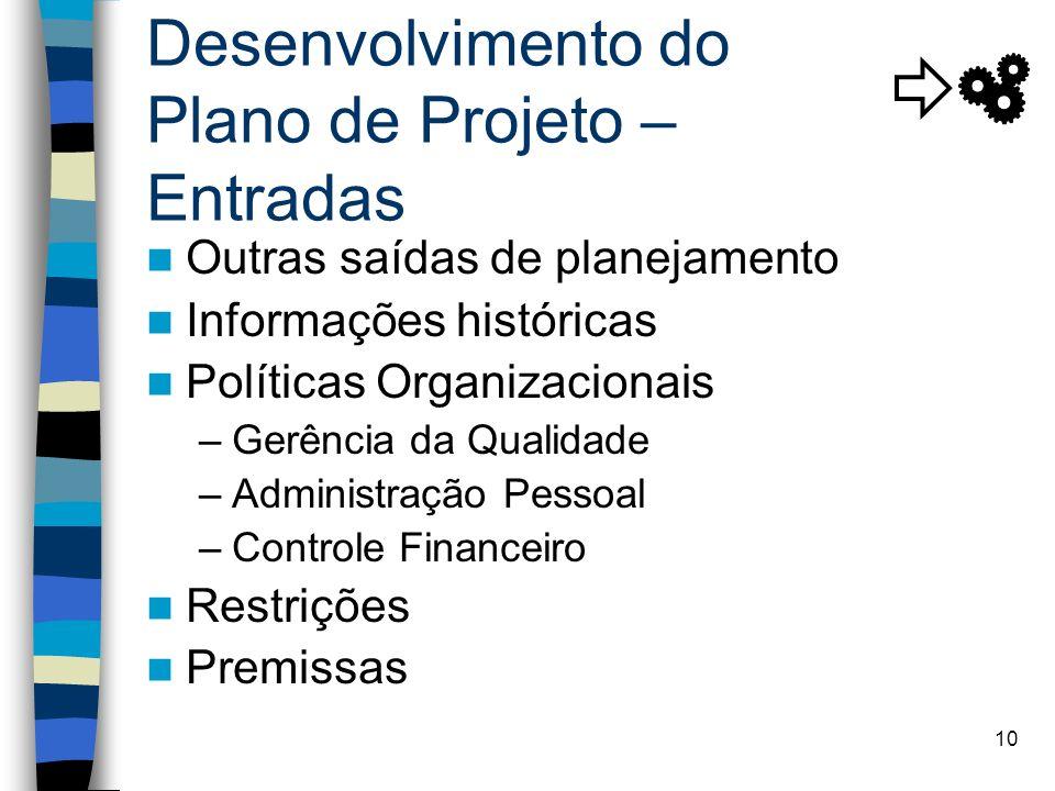10 Desenvolvimento do Plano de Projeto – Entradas Outras saídas de planejamento Informações históricas Políticas Organizacionais –Gerência da Qualidad