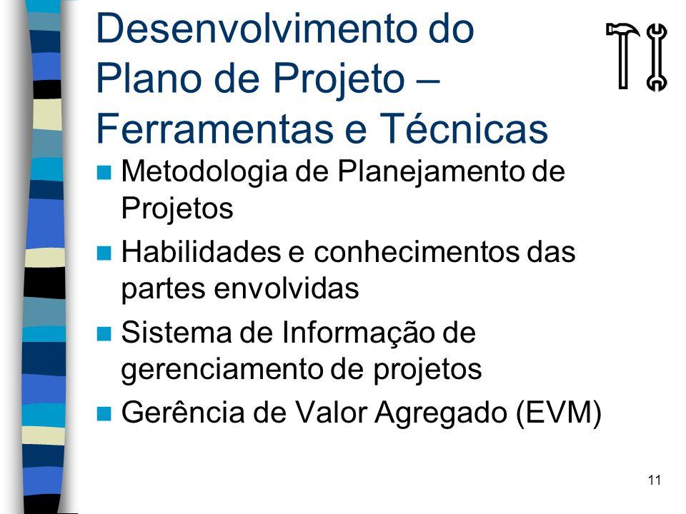 11 Desenvolvimento do Plano de Projeto – Ferramentas e Técnicas Metodologia de Planejamento de Projetos Habilidades e conhecimentos das partes envolvi