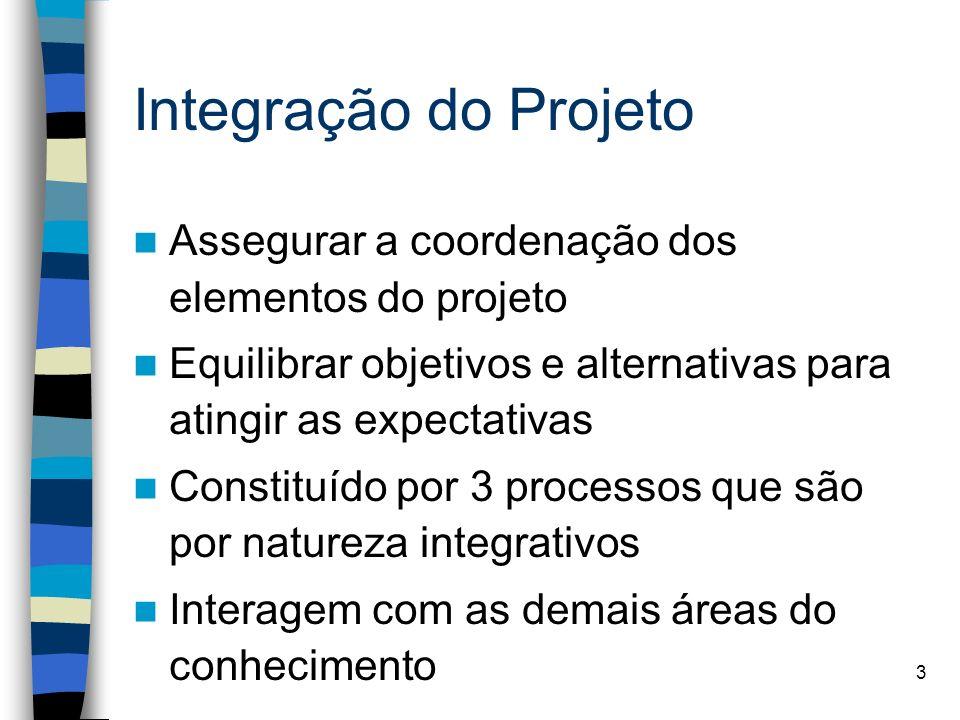 3 Integração do Projeto Assegurar a coordenação dos elementos do projeto Equilibrar objetivos e alternativas para atingir as expectativas Constituído