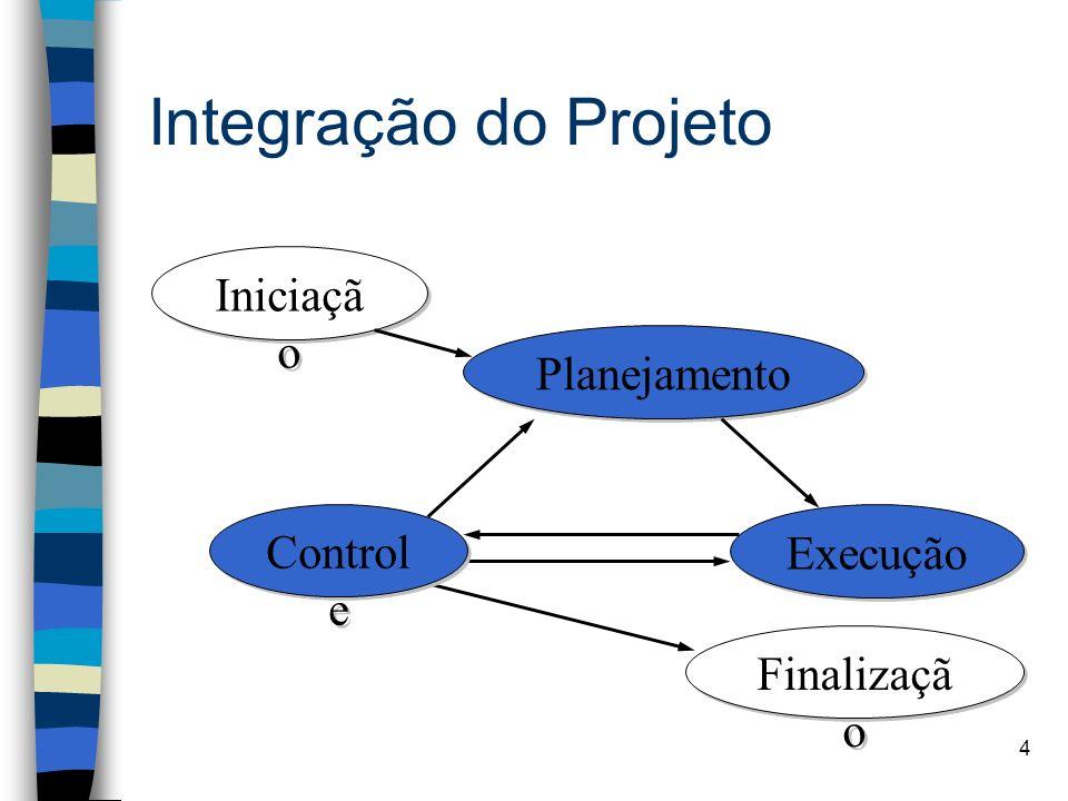 5 Integração do Projeto Os 3 processos são: –Desenvolvimento do Plano de Projeto (processo de planejamento) –Execução do Plano de Projeto (processo de execução) –Controle Integrado de Mudanças (processo de controle)