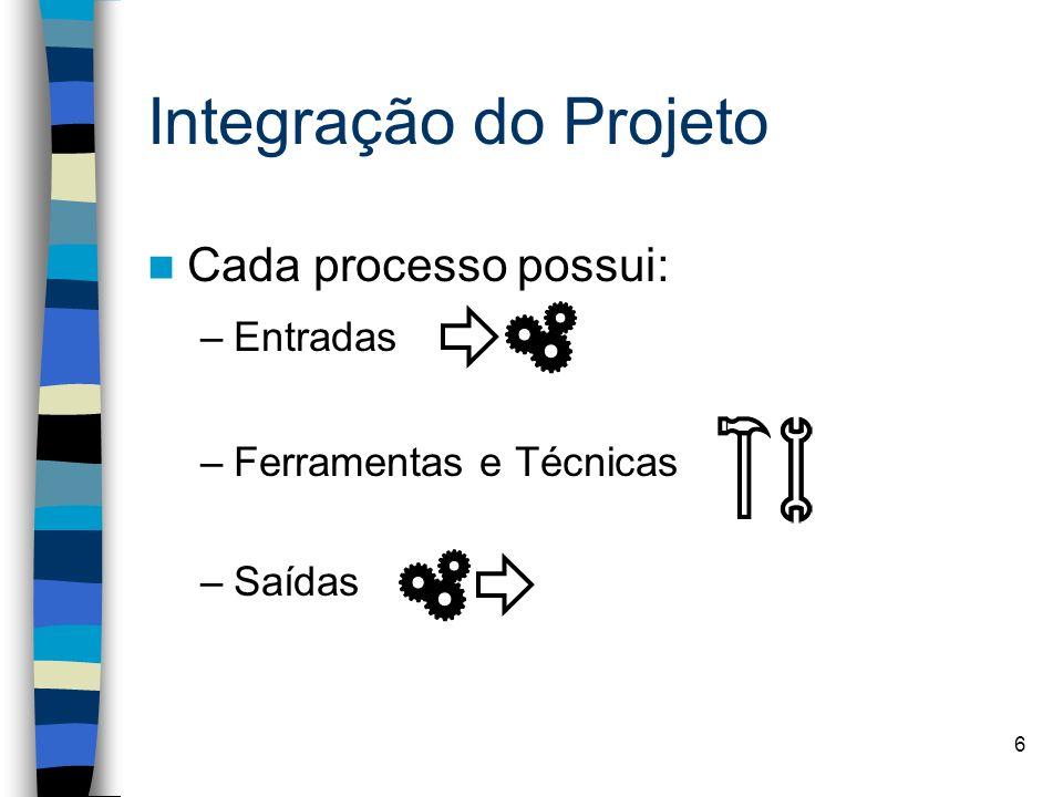 6 Integração do Projeto Cada processo possui: –Entradas –Ferramentas e Técnicas –Saídas
