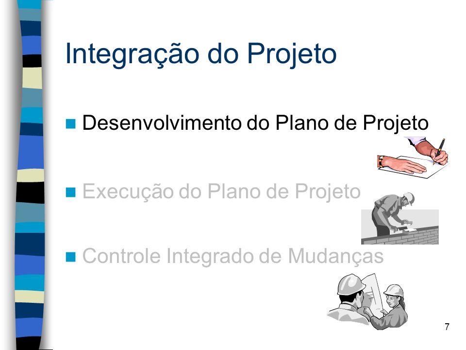 7 Integração do Projeto Desenvolvimento do Plano de Projeto Execução do Plano de Projeto Controle Integrado de Mudanças