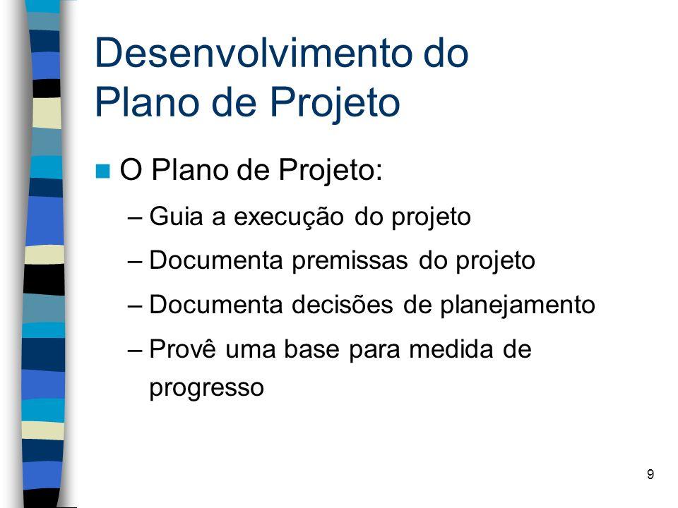 9 Desenvolvimento do Plano de Projeto O Plano de Projeto: –Guia a execução do projeto –Documenta premissas do projeto –Documenta decisões de planejame