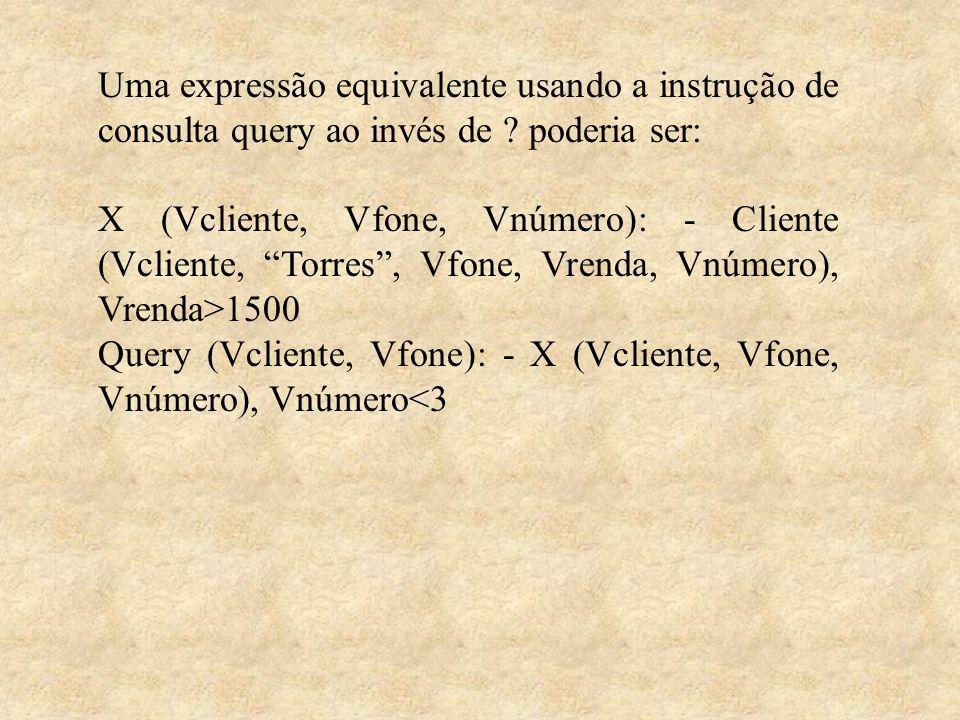 Uma expressão equivalente usando a instrução de consulta query ao invés de ? poderia ser: X (Vcliente, Vfone, Vnúmero): - Cliente (Vcliente, Torres, V