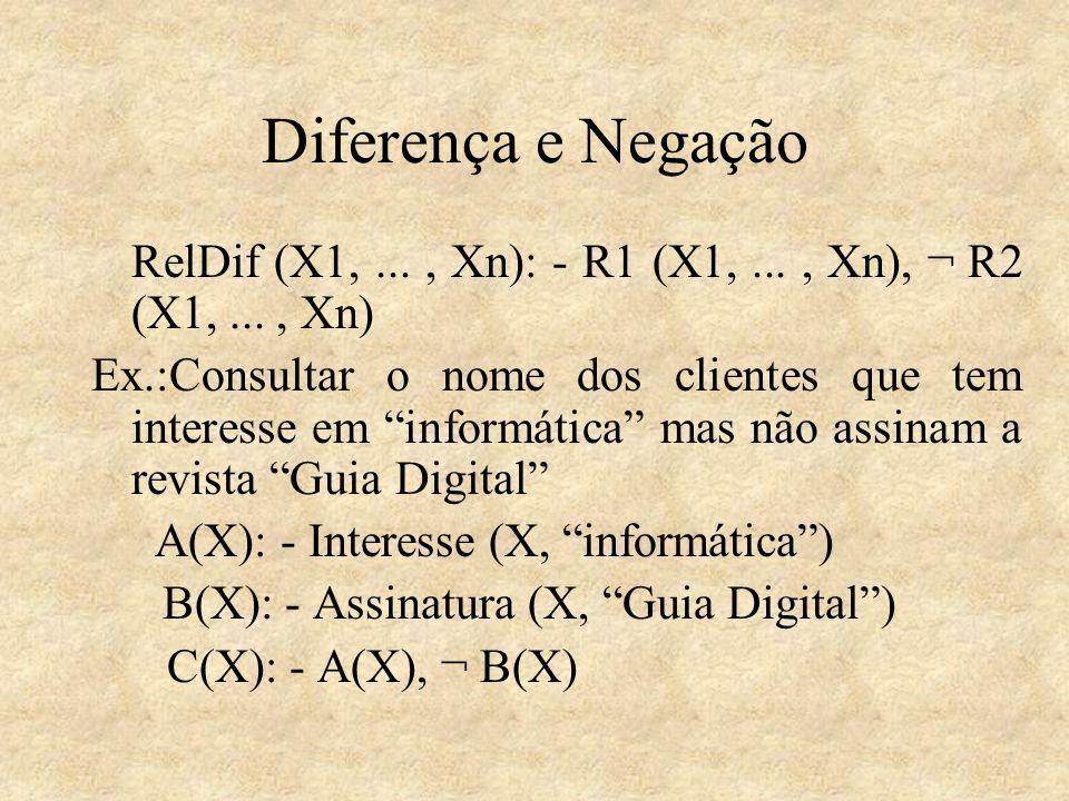 Diferença e Negação RelDif (X1,..., Xn): - R1 (X1,..., Xn), ¬ R2 (X1,..., Xn) Ex.:Consultar o nome dos clientes que tem interesse em informática mas n