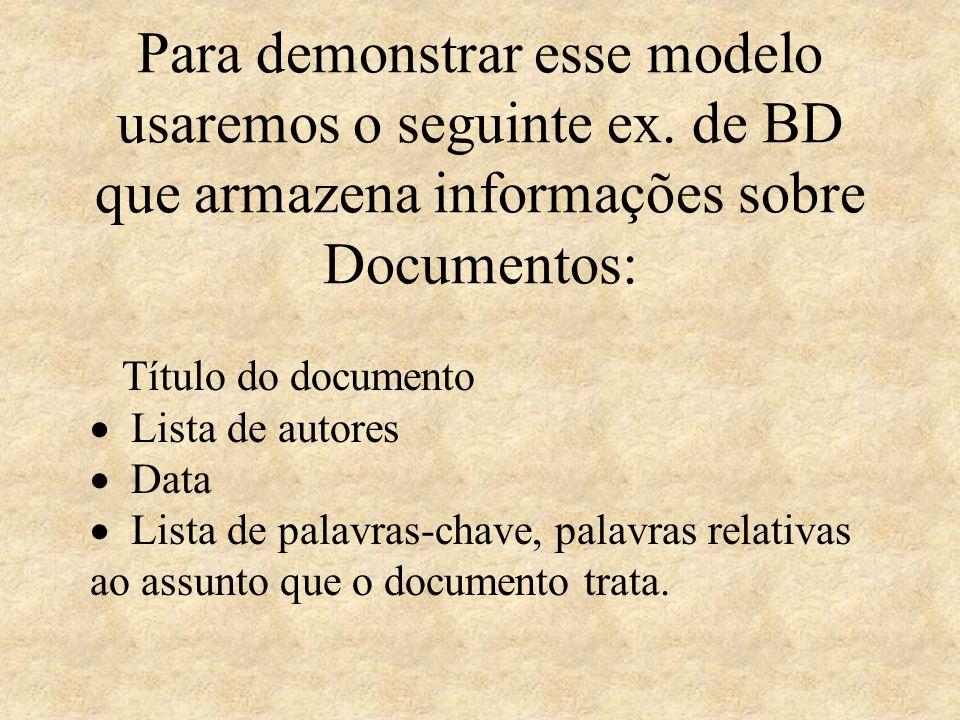 Para demonstrar esse modelo usaremos o seguinte ex. de BD que armazena informações sobre Documentos: Título do documento Lista de autores Data Lista d