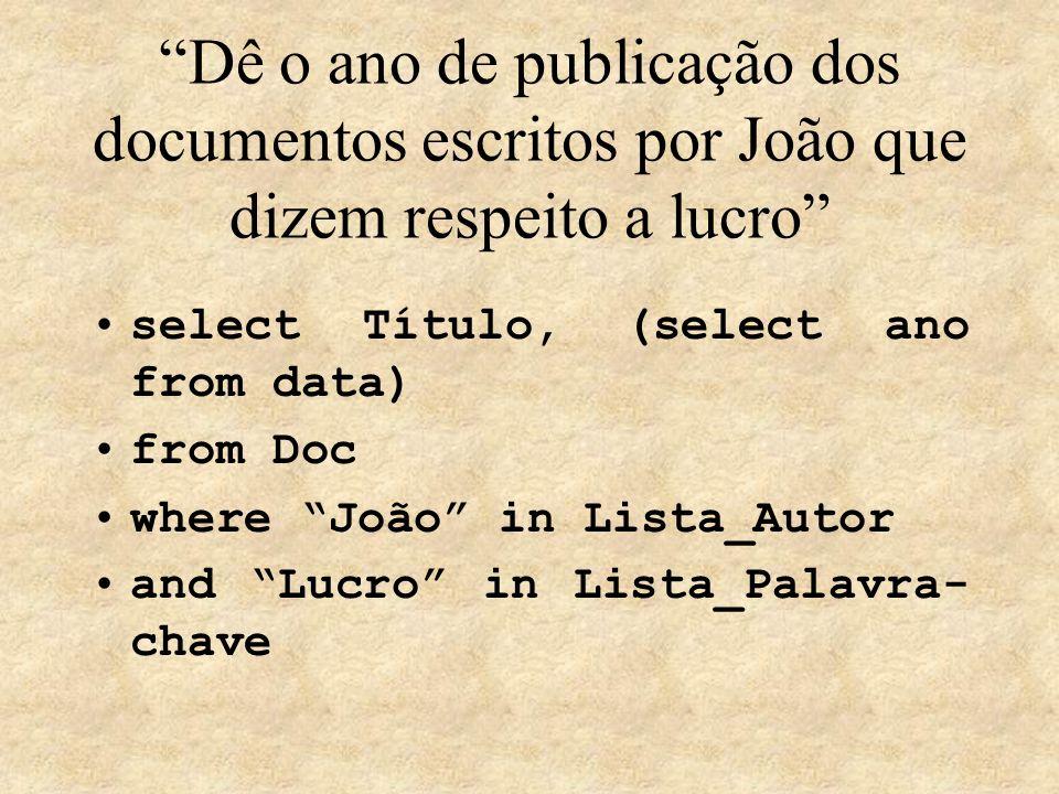 Dê o ano de publicação dos documentos escritos por João que dizem respeito a lucro select Título, (select ano from data) from Doc where João in Lista_