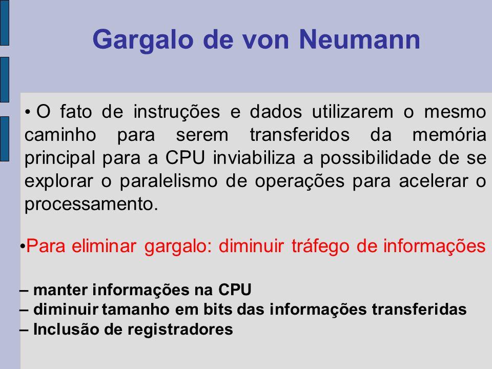 Conceito de programa armazenado Separação da Unidade Aritmética e de Controle Utilização de barramentos e registradores Hardware de entrada e saída (I/O) Modelo de von Neumann (1946)