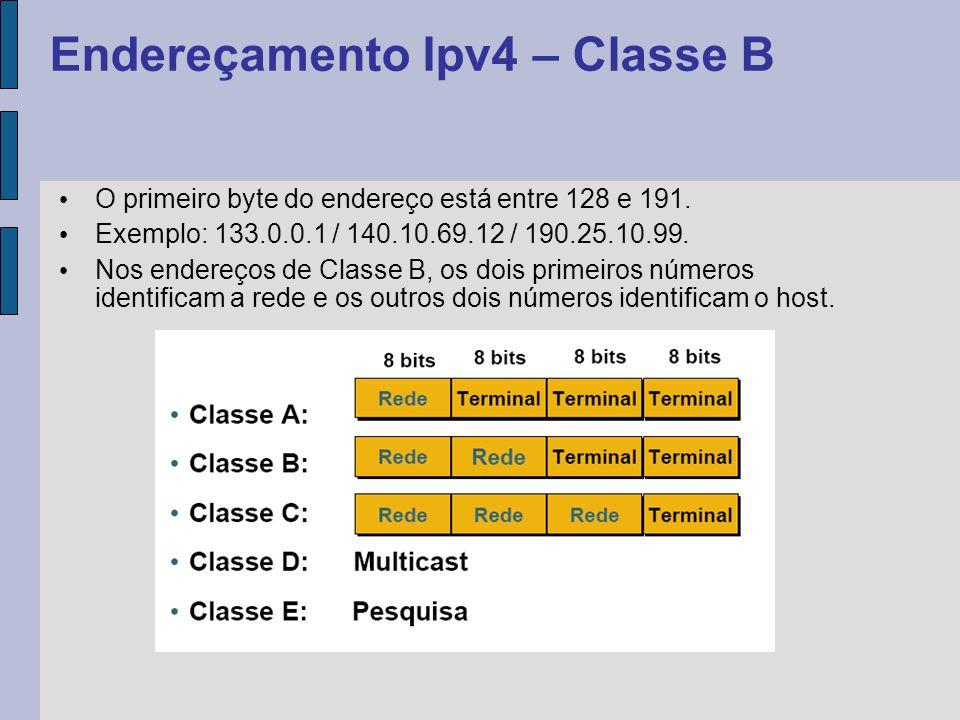 O primeiro byte do endereço está entre 192 e 223.