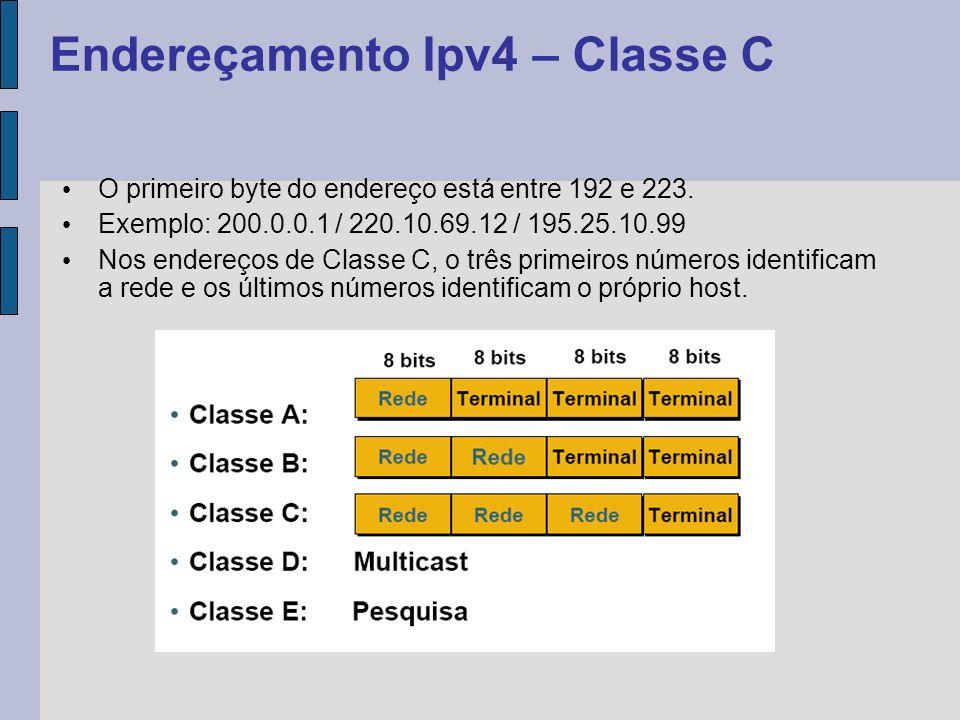 O primeiro byte do endereço está entre 224 e 239; Exemplo: 225.0.0.1 / 239.10.69.12 / 226.25.10.99; Esta classe está reservada para criar agrupamentos de computadores para o uso de Multicast (acesso apenas a endereços que estejam configurados para receber os dados).