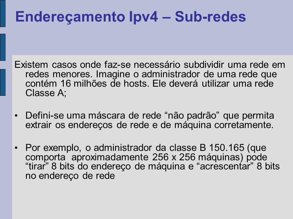 Em uma rede, o primeiro endereço da rede identifica o endereço da rede em si, e não poderá ser utilizado em nenhum equipamento; O último endereço também não poderá ser utilizado, pois é reservado para broadcast dentro daquela rede; Exemplo: – IP: 200.220.171.4 – Máscara: 255.255.255.0 – Rede: 200.220.171.0 – Broadcast: 200.220.171.255 Endereçamento Ipv4 – Máscara de sub-rede