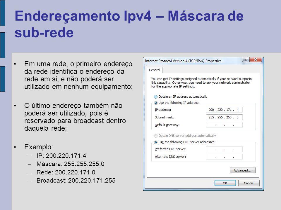 Também pode ser necessário, em casos especiais, subdividir ainda mais as classes de endereços IP; Para isso existem outras máscaras de IP conforme exemplos abaixo: – IP: 200.220.171.0 Mask: 255.255.255.0 Endereços entre: 200.220.171.0 e 200.220.171.255 – IP: 200.220.171.0 Mask: 255.255.255.128 Endereços entre: 200.220.171.0 e 200.220.171.127 – IP: 200.220.171.0 Mask: 255.255.255.192 Endereços entre: 200.220.171.0 a 200.220.171.63 – Etc.