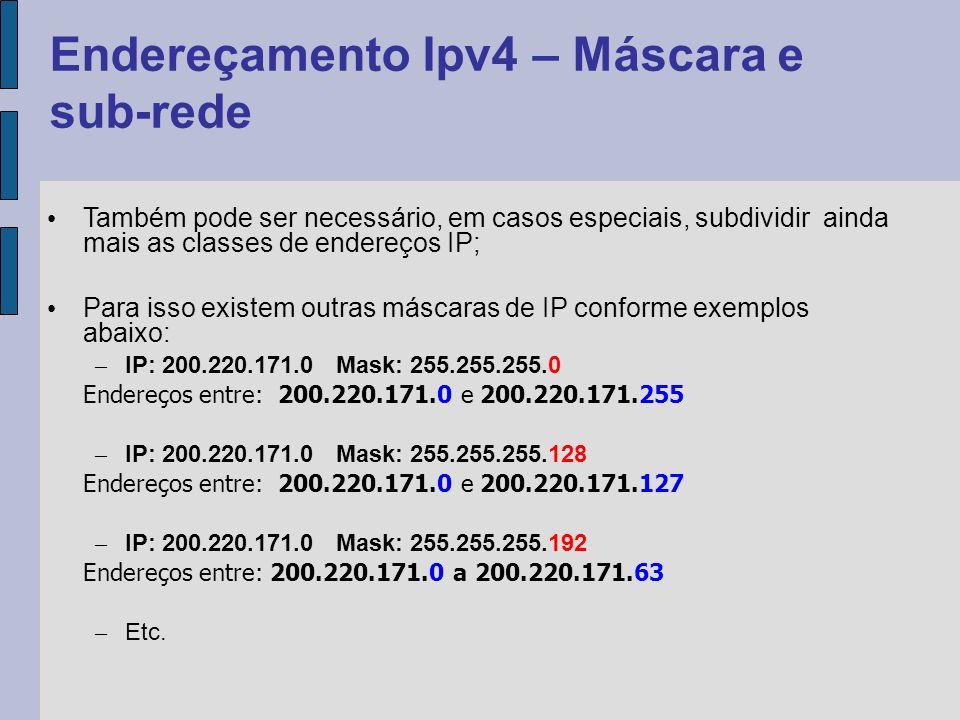Endereçamento Ipv4 – Máscara e sub-rede (Exercício) Dividir a rede 200.17.30.0 em sub-redes com 32 endereços 1.