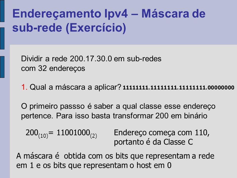 Endereçamento Ipv4 – Máscara de sub-rede (Exercício) Dividir a rede 200.17.30.0 em sub-redes com 32 endereços 1.