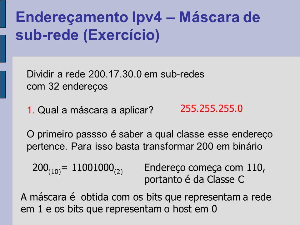 Endereçamento Ipv4 – Máscara de sub-rede (Exercício) Dividir a rede 200.17.30.0 em sub-redes com 32 endereços 2.