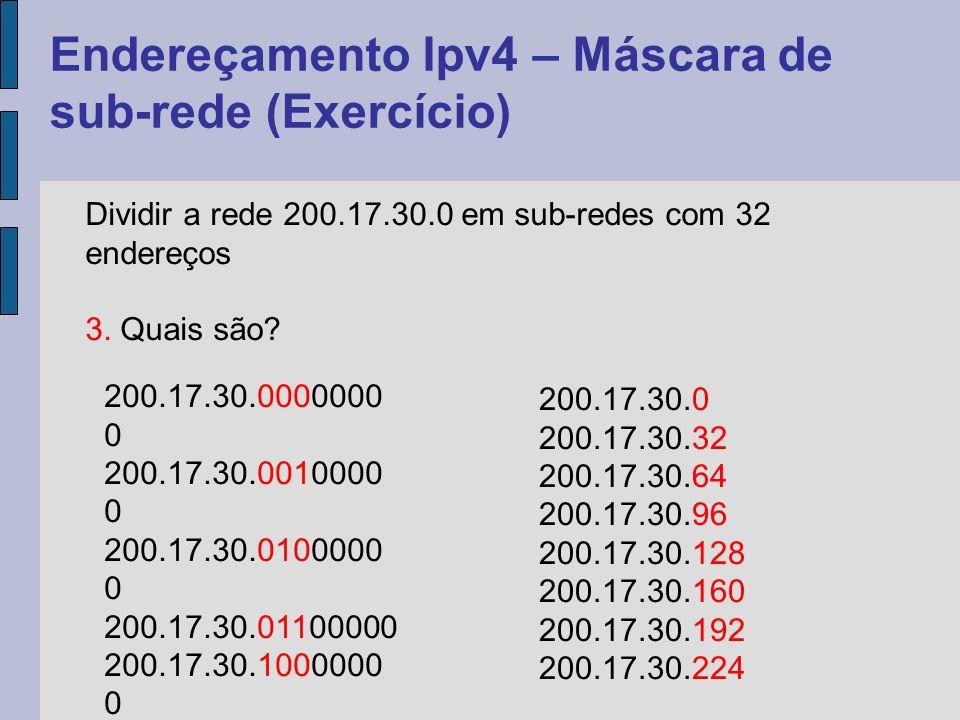 Endereçamento Ipv4 – Máscara de sub-rede (Exercício) Dividir a rede 200.17.30.0 em sub-redes com 32 endereços 4.