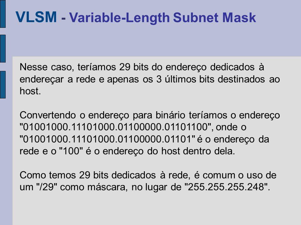 Quando quiser configurar uma rede local, você deve usar um dos endereços reservados; endereços que não existem na Internet e que por isso podemos utilizar à vontade em nossas redes particulares; As faixas abaixo são reservadas para uso em redes locais: FaixaMáscara 10.X.X.X255.0.0.0 172.16.X.X até 172.31.X.X 255.255.0.0 192.168.X.X255.255.255.0 Endereços não válidos na Internet