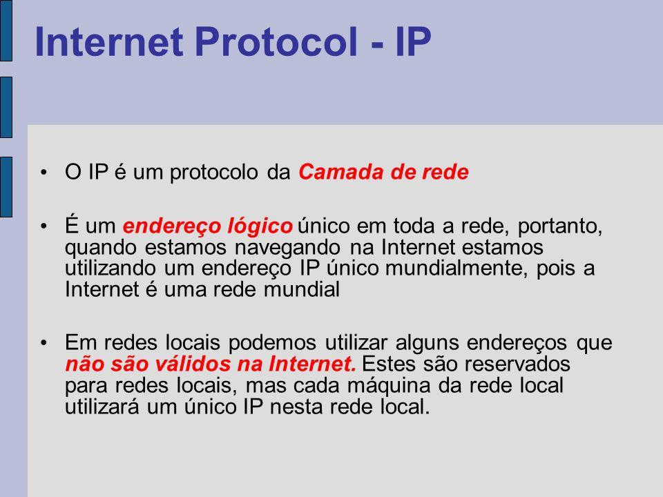 Serviço: Atribuído na camada de Transporte (TCP) e refere-se a uma aplicação que está sendo transportada (porta); Lógico: Atribuído na camada de rede (IP) e indica a origem e destino do serviço, independente do serviço que está sendo transportado; Físico: Atribuído na camada enlace (MAC), e indica o próximo host da rede onde o pacote será entregue.