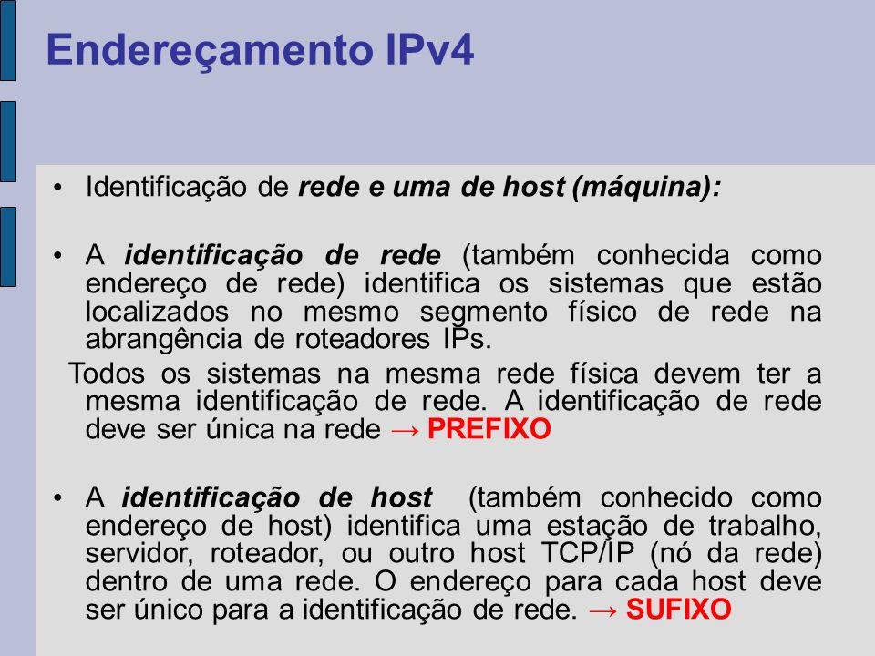 Identificação de rede e uma de host (máquina): A identificação de rede (também conhecida como endereço de rede) identifica os sistemas que estão local