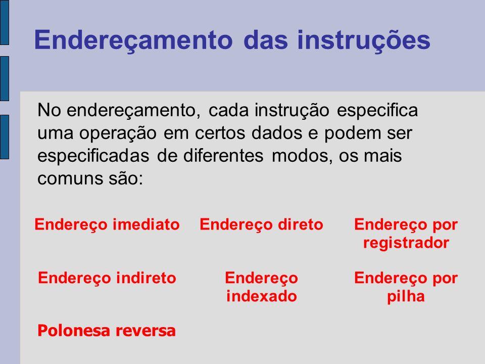 No endereçamento, cada instrução especifica uma operação em certos dados e podem ser especificadas de diferentes modos, os mais comuns são: Endereçamento das instruções Endereço imediatoEndereço diretoEndereço por registrador Endereço indiretoEndereço indexado Endereço por pilha Polonesa reversa