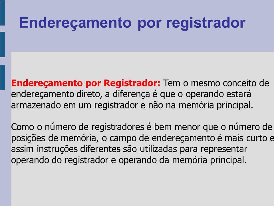 Endereçamento por Registrador: Tem o mesmo conceito de endereçamento direto, a diferença é que o operando estará armazenado em um registrador e não na memória principal.