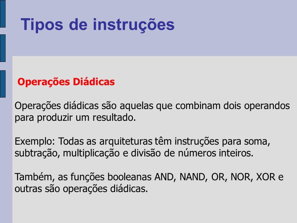 Operações Diádicas Operações diádicas são aquelas que combinam dois operandos para produzir um resultado.