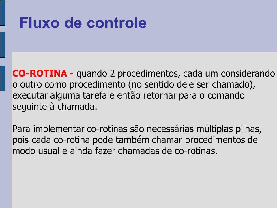 CO-ROTINA - quando 2 procedimentos, cada um considerando o outro como procedimento (no sentido dele ser chamado), executar alguma tarefa e então retornar para o comando seguinte à chamada.