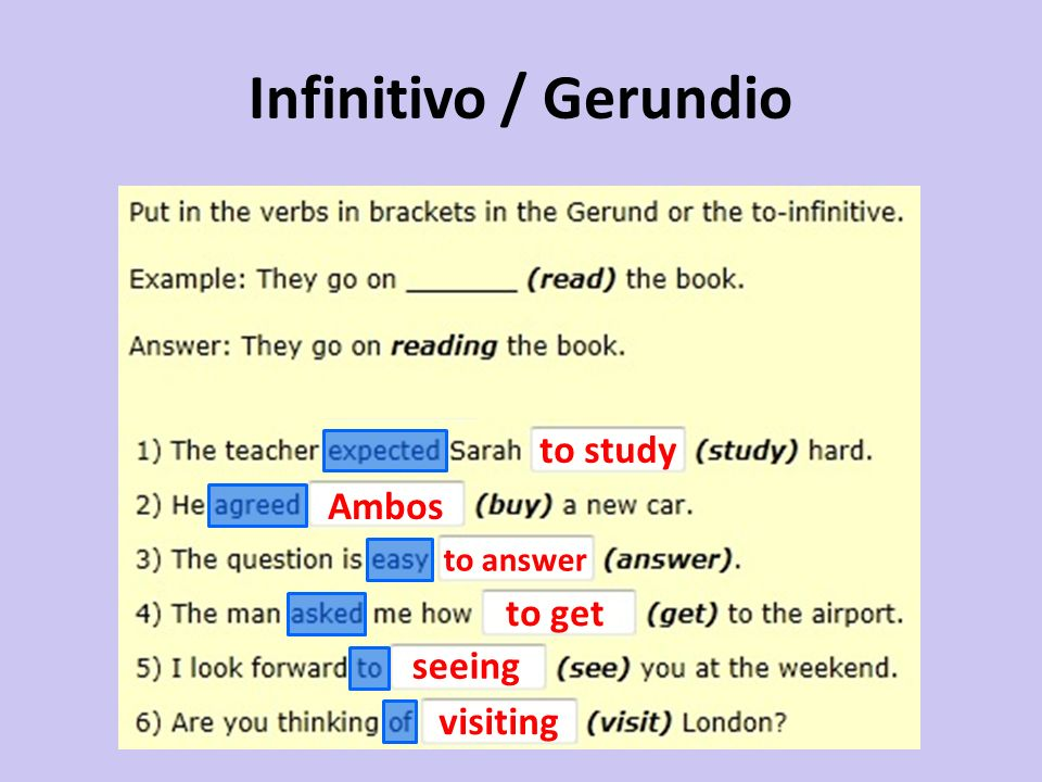Infinitivo / Gerundio Ambos to answer to get seeing visiting to study