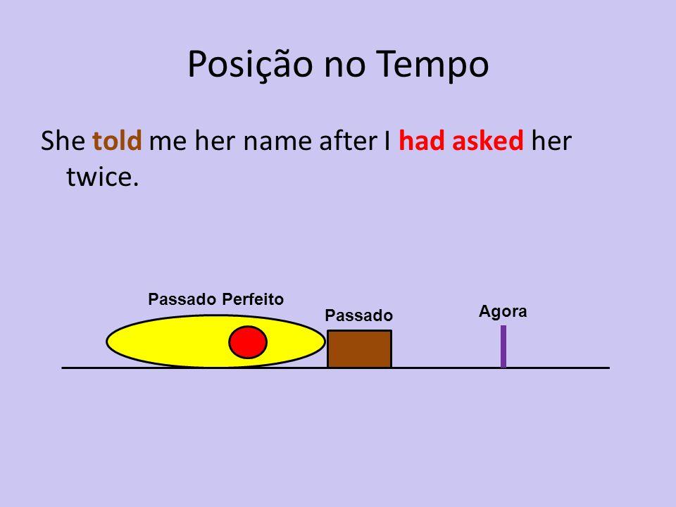 Posição no Tempo She told me her name after I had asked her twice. Agora Passado Passado Perfeito