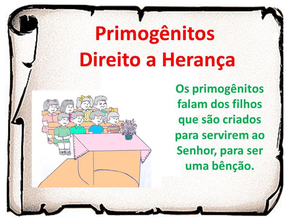 Primogênitos Direito a Herança Os primogênitos falam dos filhos que são criados para servirem ao Senhor, para ser uma bênção.