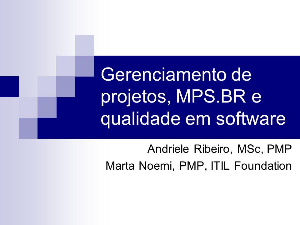 Gerenciamento de projetos, MPS.BR e qualidade em software Andriele Ribeiro, MSc, PMP Marta Noemi, PMP, ITIL Foundation