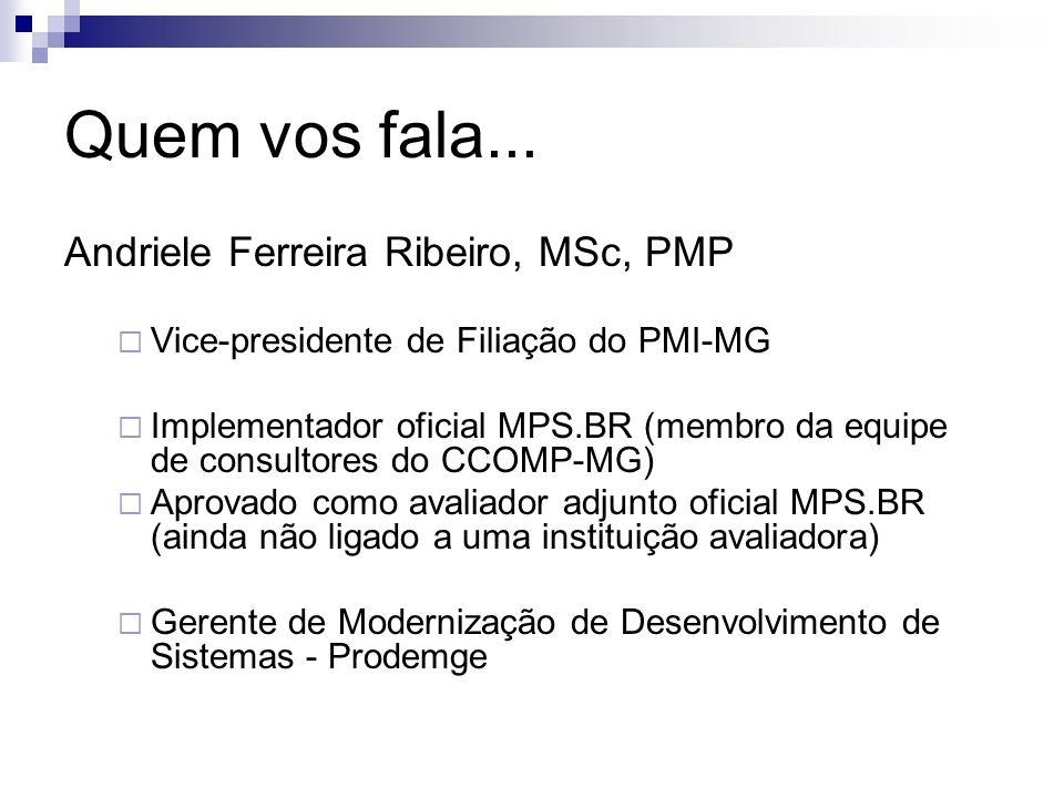 Quem vos fala... Andriele Ferreira Ribeiro, MSc, PMP Vice-presidente de Filiação do PMI-MG Implementador oficial MPS.BR (membro da equipe de consultor