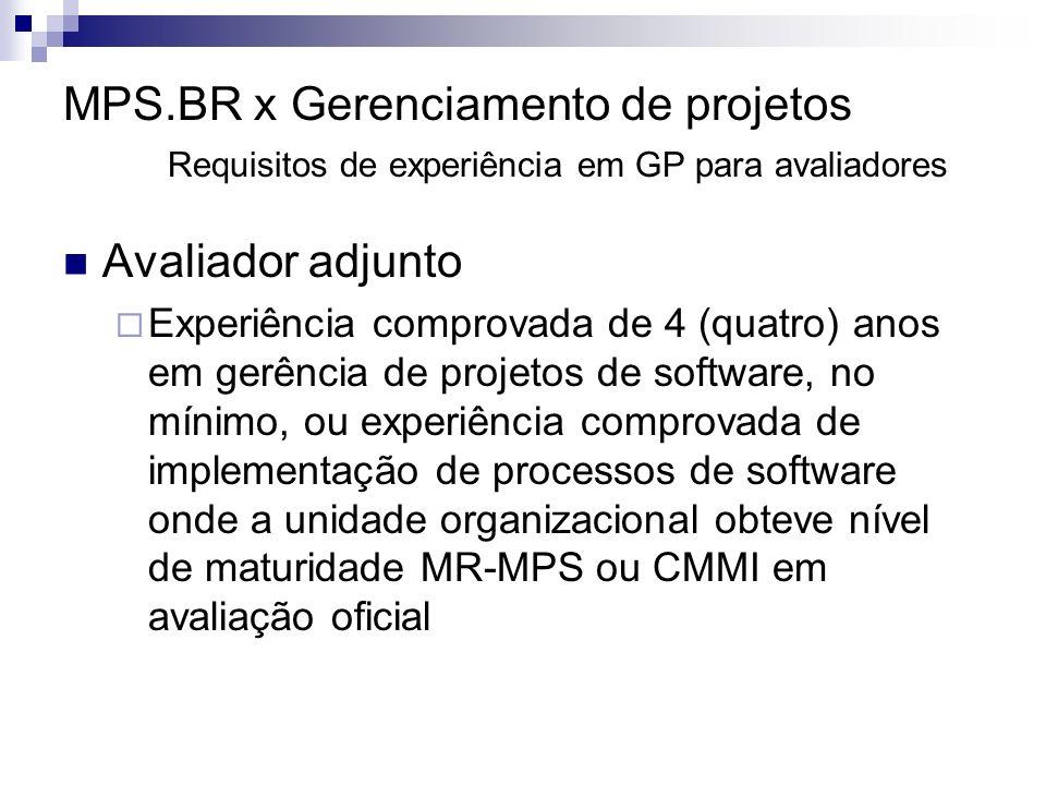 MPS.BR x Gerenciamento de projetos Requisitos de experiência em GP para avaliadores Avaliador adjunto Experiência comprovada de 4 (quatro) anos em gerência de projetos de software, no mínimo, ou experiência comprovada de implementação de processos de software onde a unidade organizacional obteve nível de maturidade MR-MPS ou CMMI em avaliação oficial
