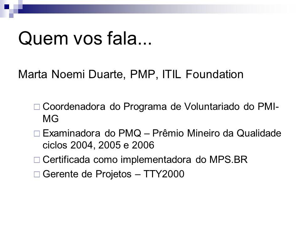Quem vos fala... Marta Noemi Duarte, PMP, ITIL Foundation Coordenadora do Programa de Voluntariado do PMI- MG Examinadora do PMQ – Prêmio Mineiro da Q