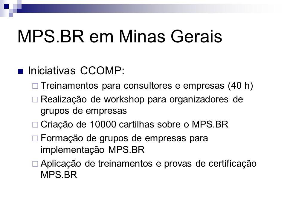 MPS.BR em Minas Gerais Iniciativas CCOMP: Treinamentos para consultores e empresas (40 h) Realização de workshop para organizadores de grupos de empresas Criação de 10000 cartilhas sobre o MPS.BR Formação de grupos de empresas para implementação MPS.BR Aplicação de treinamentos e provas de certificação MPS.BR