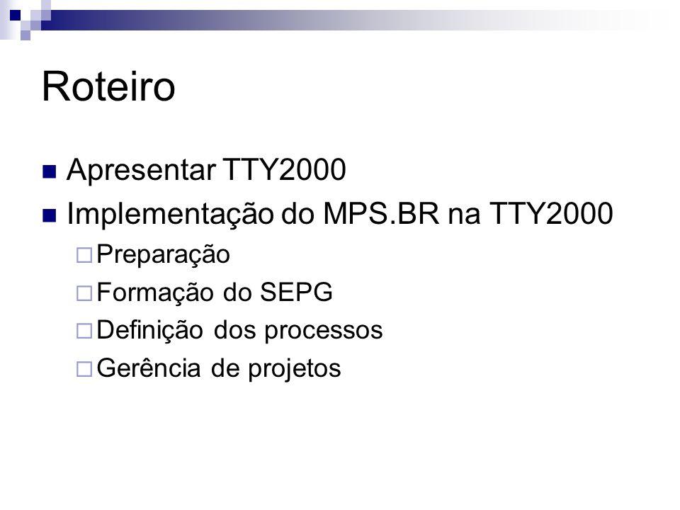 Roteiro Apresentar TTY2000 Implementação do MPS.BR na TTY2000 Preparação Formação do SEPG Definição dos processos Gerência de projetos