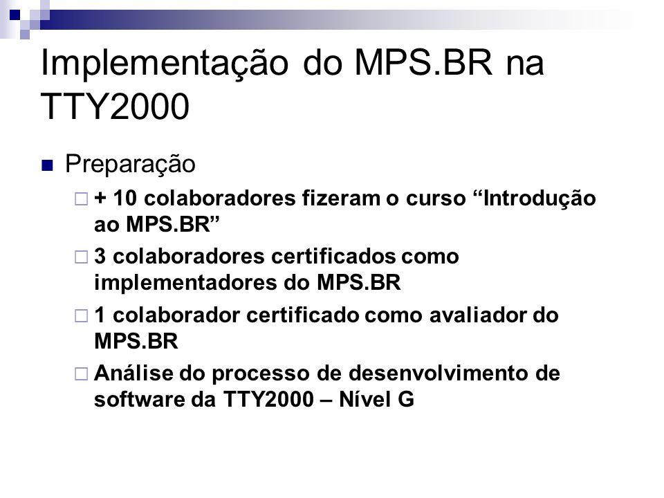 Implementação do MPS.BR na TTY2000 Preparação + 10 colaboradores fizeram o curso Introdução ao MPS.BR 3 colaboradores certificados como implementadores do MPS.BR 1 colaborador certificado como avaliador do MPS.BR Análise do processo de desenvolvimento de software da TTY2000 – Nível G