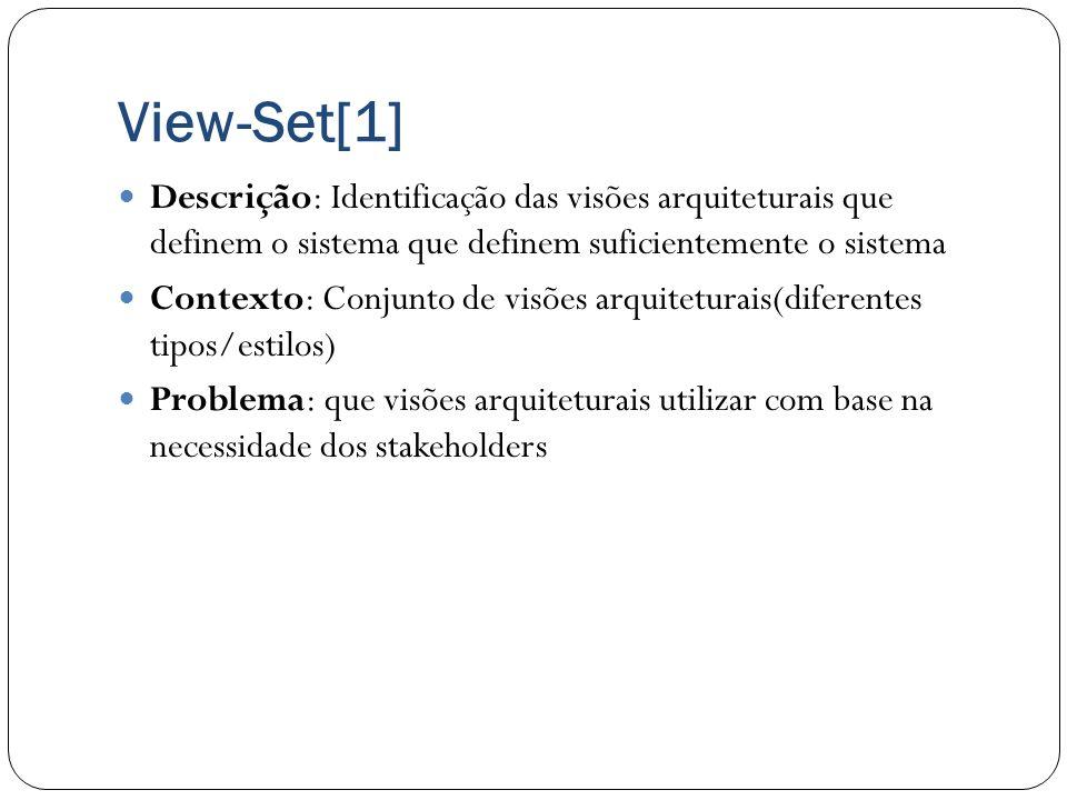 View-Set[1] Descrição: Identificação das visões arquiteturais que definem o sistema que definem suficientemente o sistema Contexto: Conjunto de visões
