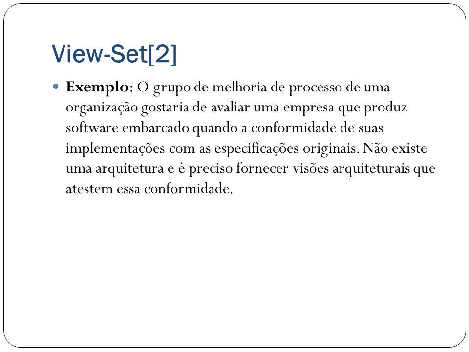 View-Set[2] Exemplo: O grupo de melhoria de processo de uma organização gostaria de avaliar uma empresa que produz software embarcado quando a conform