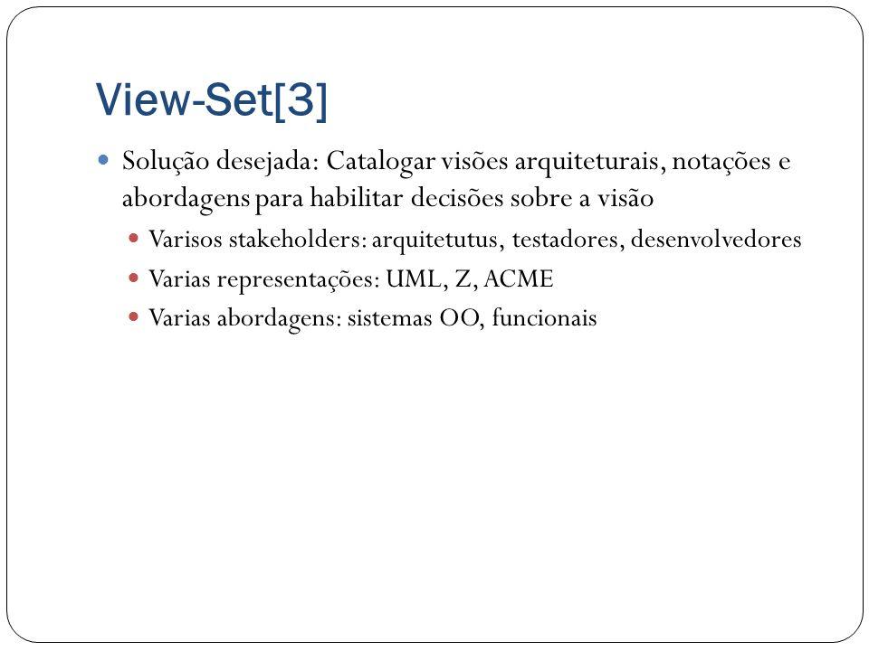 View-Set[3] Solução desejada: Catalogar visões arquiteturais, notações e abordagens para habilitar decisões sobre a visão Varisos stakeholders: arquit