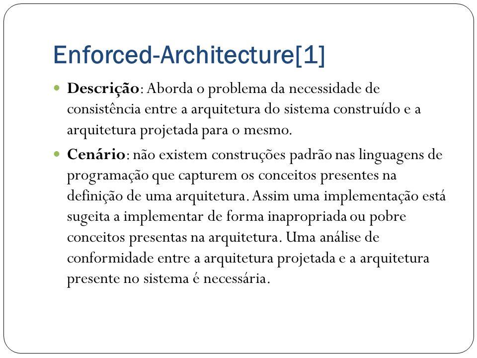 Enforced-Architecture[1] Descrição: Aborda o problema da necessidade de consistência entre a arquitetura do sistema construído e a arquitetura projeta