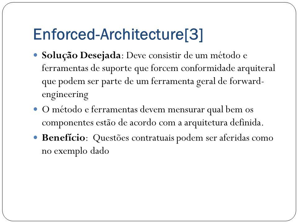 Enforced-Architecture[3] Solução Desejada: Deve consistir de um método e ferramentas de suporte que forcem conformidade arquiteral que podem ser parte