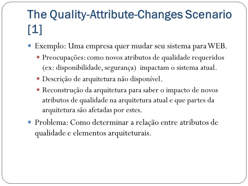 The Quality-Attribute-Changes Scenario [1] Exemplo: Uma empresa quer mudar seu sistema para WEB. Preocupações: como novos atributos de qualidade reque