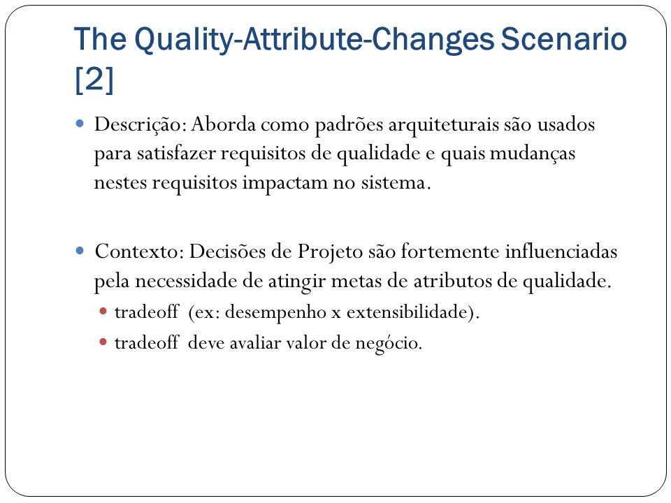 The Quality-Attribute-Changes Scenario [2] Descrição: Aborda como padrões arquiteturais são usados para satisfazer requisitos de qualidade e quais mud