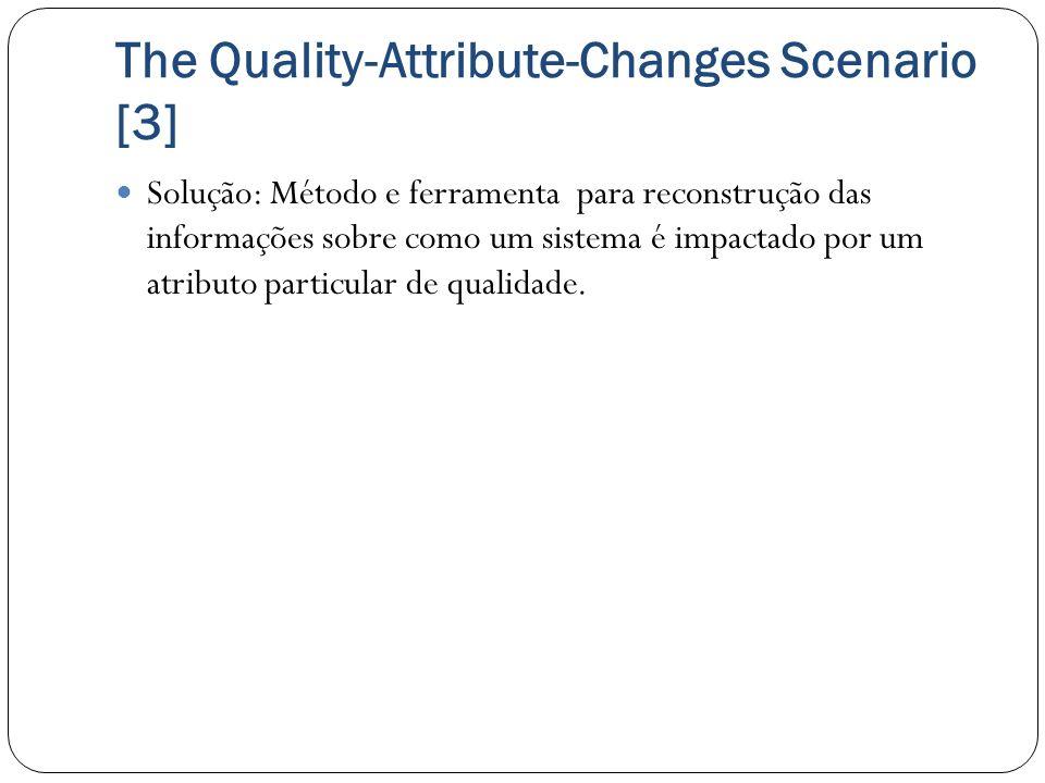 The Quality-Attribute-Changes Scenario [3] Solução: Método e ferramenta para reconstrução das informações sobre como um sistema é impactado por um atr
