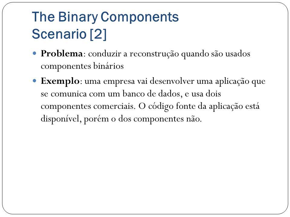 The Binary Components Scenario [2] Problema: conduzir a reconstrução quando são usados componentes binários Exemplo: uma empresa vai desenvolver uma a